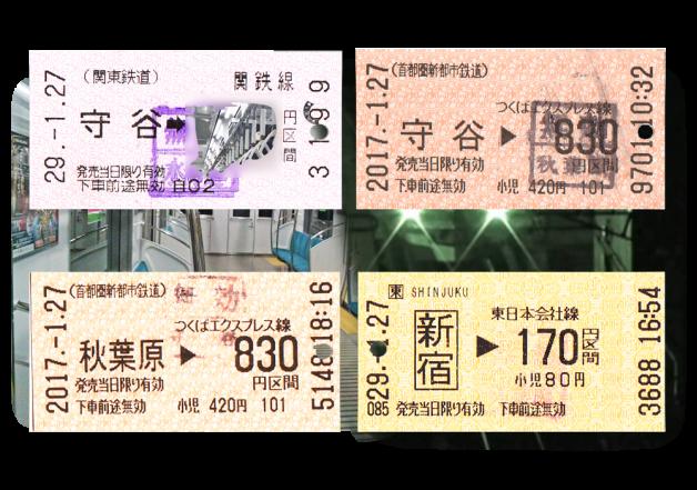 セミナー会場の西新宿を往復した電車の切符